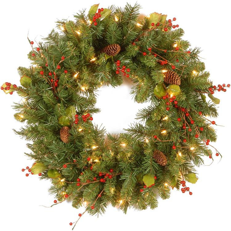 National Tree 24 Inch Classical Collection Wreath with Cones, Holly Leaves, Red Berries and 50 Clear Lights