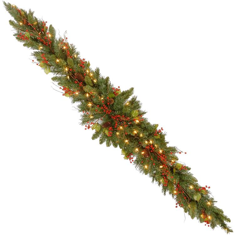 National Tree 6 Foot Classical Collection Mantel Swag with Cones, Holly Leaves, Red Berries and 50 Clear Lights