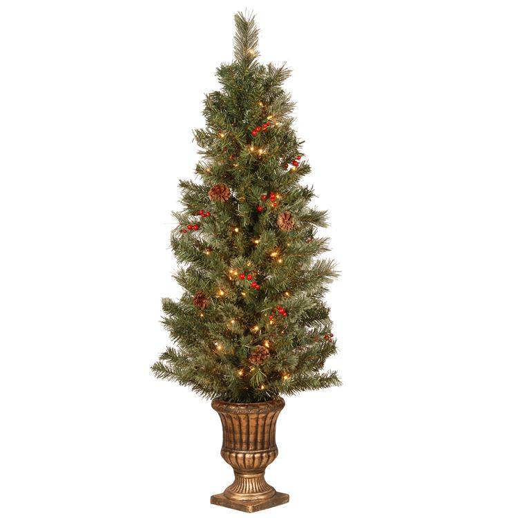National Tree 4.5 ft. Cashmere Cone and Berry Decorated Potted Artificial Christmas Tree in Urn with 100 Clear Lights