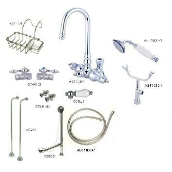 Kingston Brass Vintage Wall Mount Gooseneck Clawfoot Tub Filler with Shower Mixer Kit in Polished Chrome