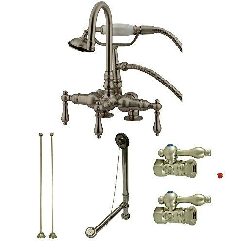 Kingston Brass Vintage Deck Mount Clawfoot Tub Faucet Package in Satin Nickel