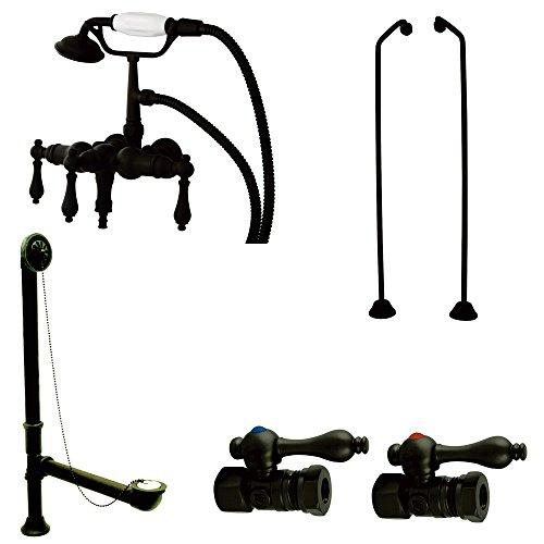 Kingston Brass Vintage Wall Mount Down Spout Clawfoot Tub Faucet Package in Oil Rubbed Bronze