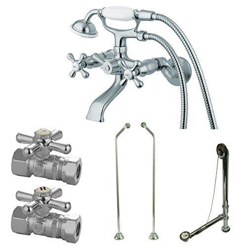Kingston Brass Vintage Wall Mount Clawfoot Tub Faucet Package with Offset Supply Lines in Polished Chrome