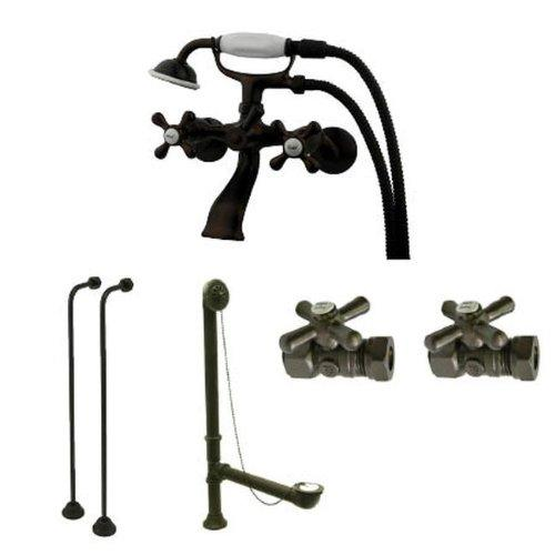 Kingston Brass Vintage Wall Mount Clawfoot Tub Faucet Package in Oil Rubbed Bronze