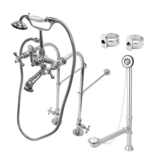 Kingston Brass Vintage Freestanding Clawfoot Tub Faucet Package with Metal Cross Handles in Polished Chrome