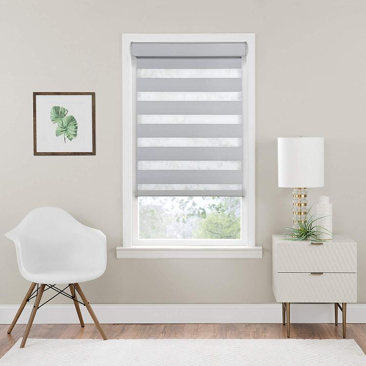 Cordless Celestial Room Darkening Double Layered Shade 34x72 - Oyster