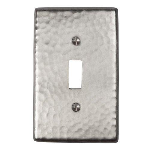 Solid Hammered Copper Single Switch Plate in Satin Nickel Finish By The Copper Factory Model CF120SN