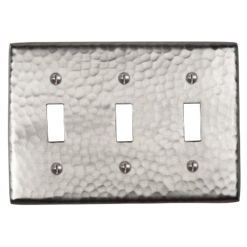 Solid Hammered Copper Tripple Switch Plate in Satin Nickel Finish By The Copper Factory Model CF127SN