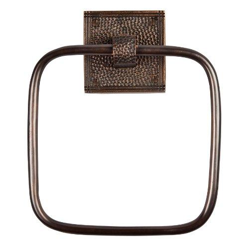 Solid Copper Towel Ring with a Square Backplate in Antique Copper Finish by The Copper Factory Model CF135AN