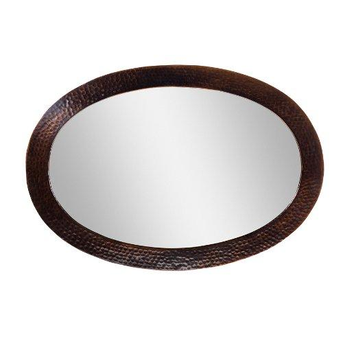 Solid Hammered Copper Framed Oval Mirror in Antique Copper Finish by The Copper Factory Model CF137AN