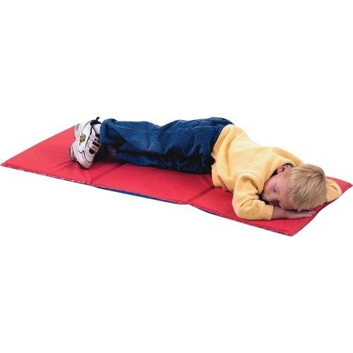 Economy Infection Control Folding Rest Mat - Red/Blue 3 Section