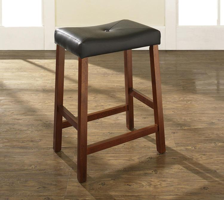 Upholstered Saddle Seat Bar Stool with 24 Inch Seat Height. (Set of Two)