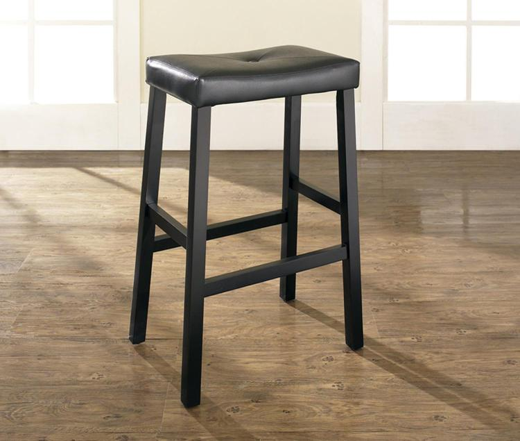 Upholstered Saddle Seat Bar Stool with 29 Inch Seat Height. (Set of Two)