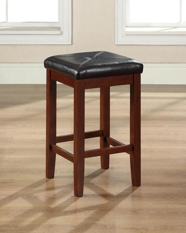 Upholstered Square Seat Bar Stool with 24 Inch Seat Height. (Set of Two)