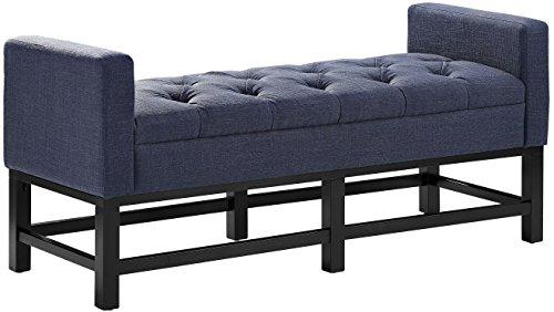 Crosley Claremont Upholstered Bench In Navy