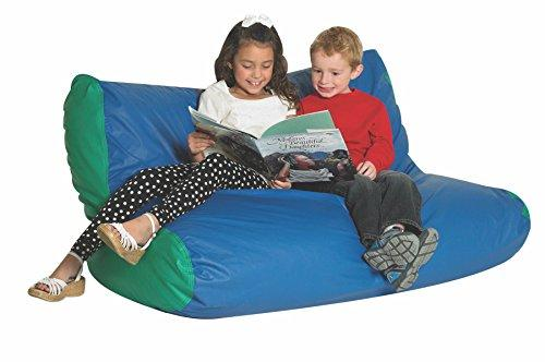 School Age Double High Back Lounger in Blue and Green [Item # CF610-043]