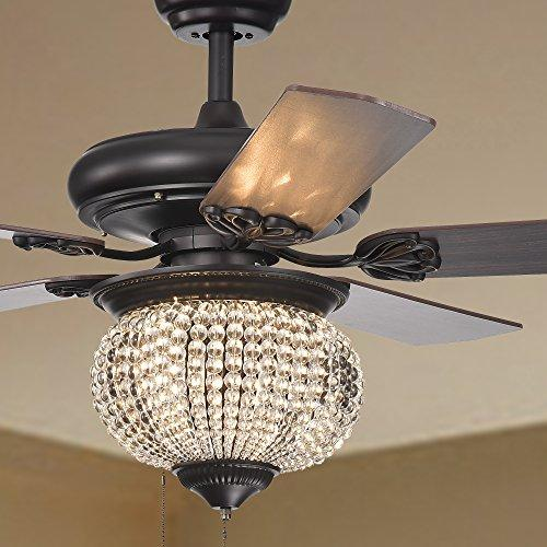 Warehouse of Tiffany Priteen 3-Light Crystal Bead 5-Blade 52-Inch Brown Ceiling Fan