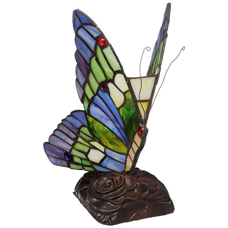 Kacy 3 Tiffany-Style 1 Light Butterfly Accent Table Lamp 10