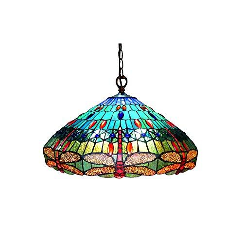 Scarlet Tiffany-Style 3 Light Dragonfly Hanging Pendant Lamp 24