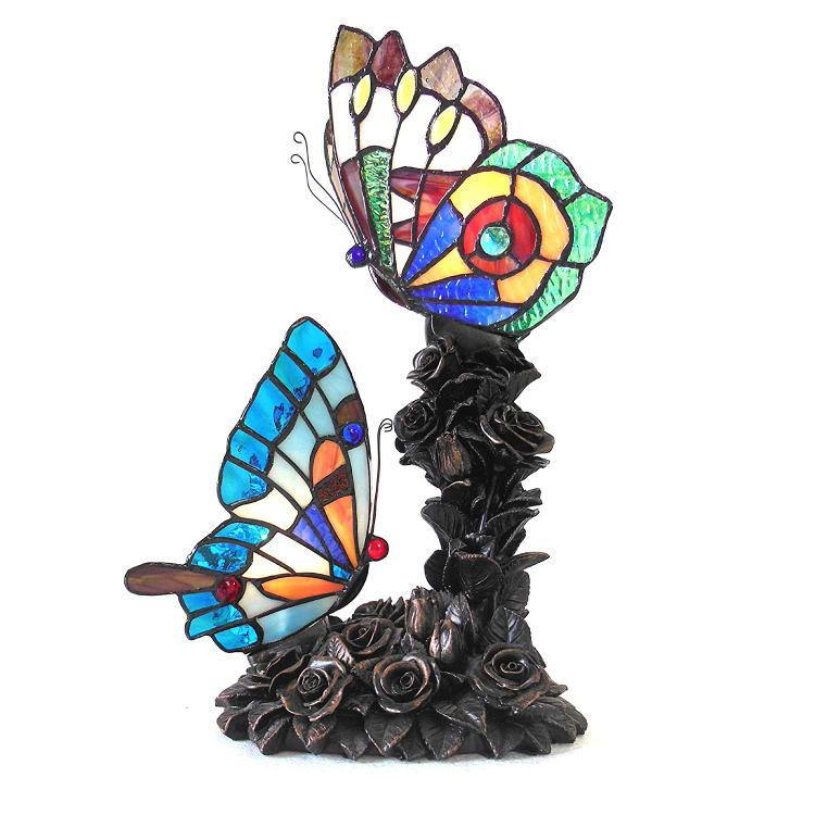 Edith 2 Tiffany-Style 2 Light Butterfly Table Lamp 10