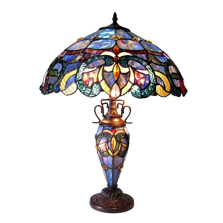 Chloe Lighting Nora Tiffany Style Victorian Double Lit 3 Light Dtable Lamp 18