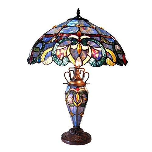 Nora Tiffany Style Victorian Double Lit 3 Light Dtable Lamp 18