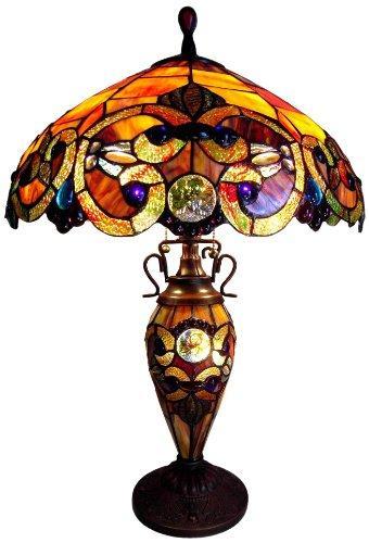 Demetra Auroratiffany-Style 3 Light Victorian Double Lit Table Lamp 18