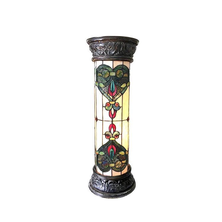 Dulce Tiffany-Glass 2 Light Victorian Pedestal Light Fixture 30