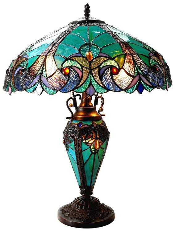 Chloe Lighting Liaison Tiffany-Style 3 Light Victorian Double Lit Table Lamp 18