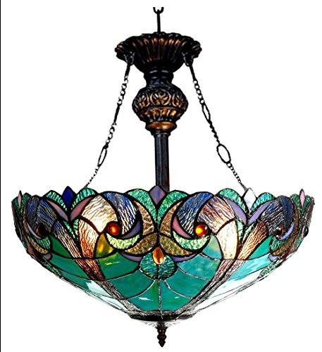 Liaison Tiffany-Style 2 Light Victorian Inverted Ceiling Pendant 18