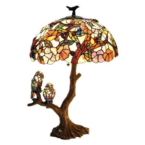 4 Light Tiffany-Style Featuring Flowers & Birds Double Lit Table Lamp Oval Shape 19