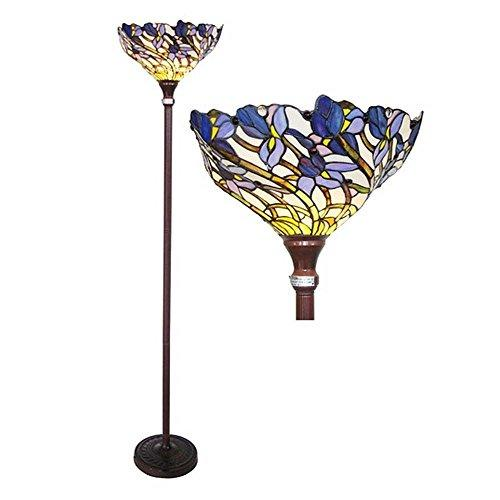 1 Light Tiffany-Style Iris Torchiere Floor Lamp 17