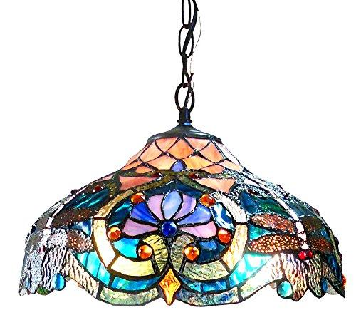 Lydia Tiffany-Style 2 Light Victorian Ceiling Pendant Fixture 17