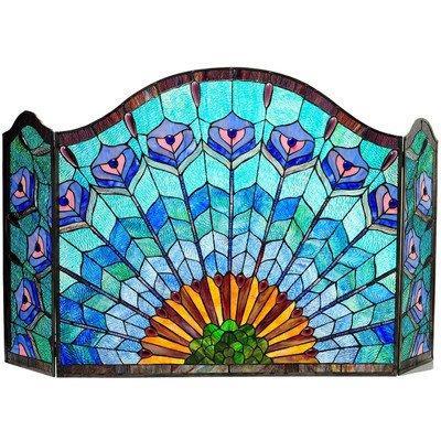 Regal Eudora Tiffany-Glass 3Pcs Folding Peacock Fireplace Screen 48