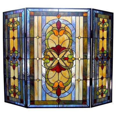 Tiffany-Glass 3Pcs Folding Victorian Fireplace Screen 40
