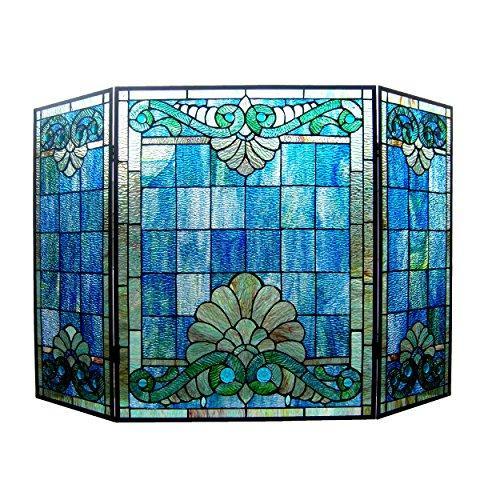 Keanu Tiffany-Style 3Pcs Folding Victorian Fireplace Screen 44
