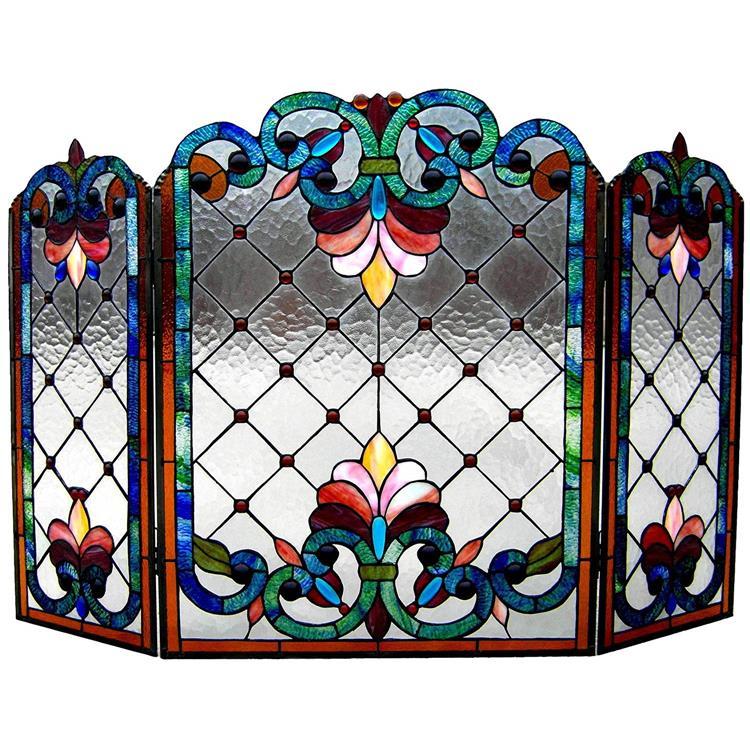 Tiffany-Glass 3Pcs Folding Victorian Fireplace Screen 44