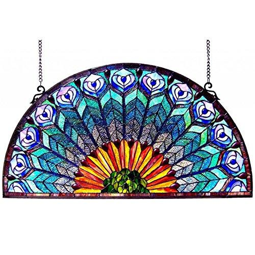 Chloe Lighting Regal Eudora Tiffany-Style Peacock Feather Glass Window Panel 35X18 - [CH1P046GP35-GPN]
