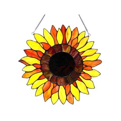 Chloe Lighting Sunnyville Tiffany-Glass Sunflower Window Panel 16