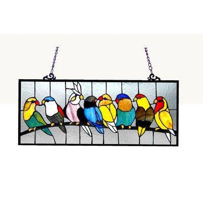Birdies Tiffany-Glass Featuring Birds Window Panel 25.5X10.5