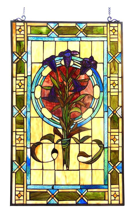 Tiffany-Glass Tulips Design Window Panel 20X32