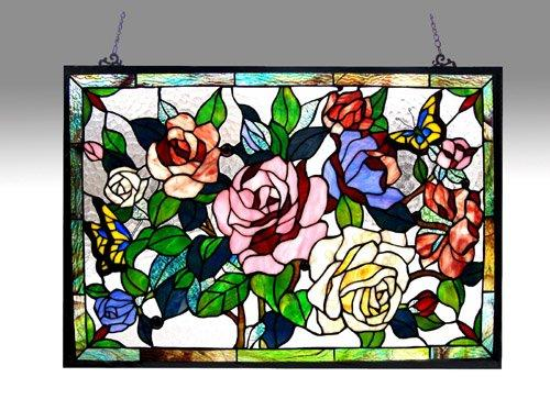 Chloe Lighting Tiffany-Glass Featuring Roses & Butterflies Window Panel 27X19 [Item # CH1P489GF27-GPN]