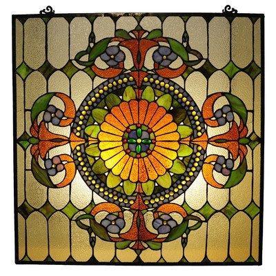 Tiffany-Glass Victorian Window Panel 25X25