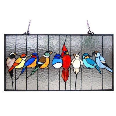 Tiffany-Glass Featuring Birds In The Cage Window Panel 24.5X13