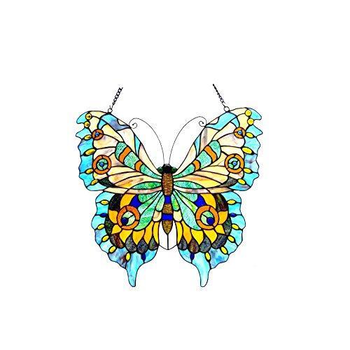 Mariposa Tiffany-Glass Butterfly Window Panel 20X21