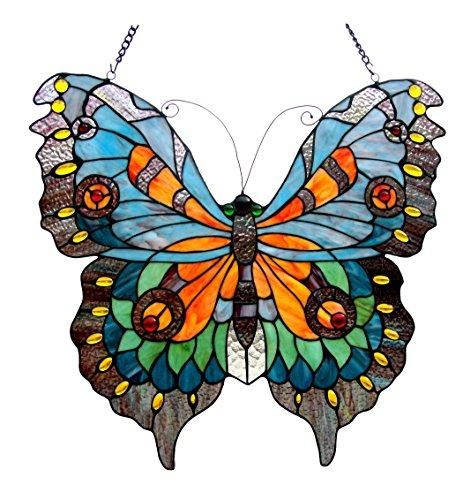 Chloe Lighting Mariposa Tiffany-Glass Butterfly Window Panel 21X20 [Item # CH1P544GA21-GPN]