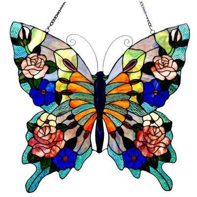 Tiffany-Glass Butterfly Window Panel 22.5X24