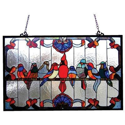 Tiffany-Glass Featuring Gathering Birds Window Panel 32X20