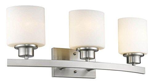 Aaliyah Contemporary 3 Light Brushed Nickel Bath Vanity Light Opal White Glass 23