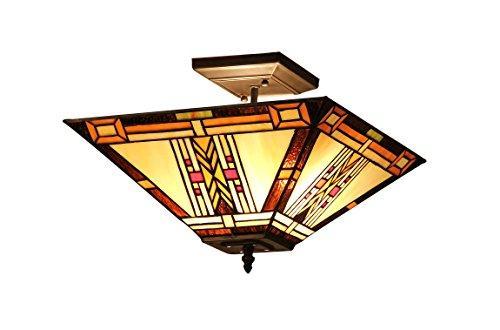 Gode Tiffany-Style 2 Light Mission Semi-Flush Ceiling Fixture 14